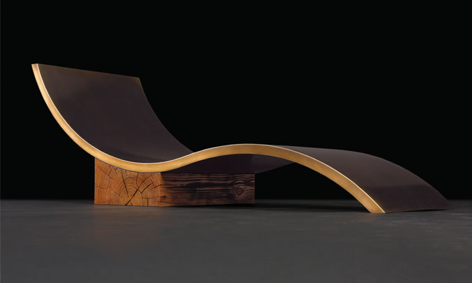 Bronze Chaise Longue with Old Growth Heart Pine Beam