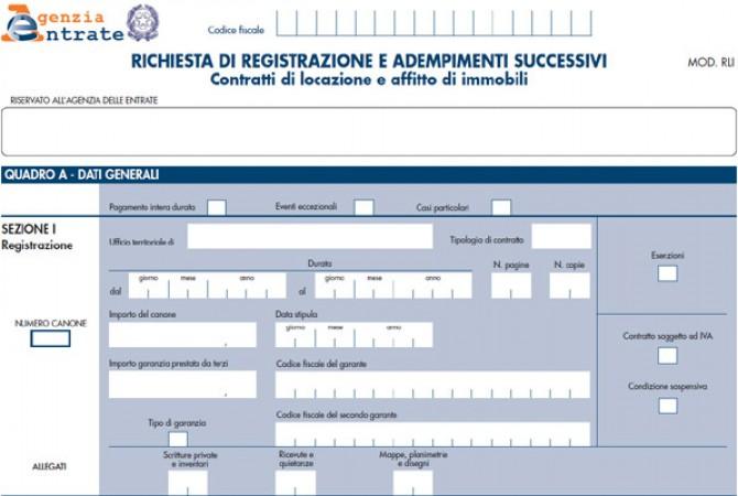 Come registrare il contratto di locazione il modello rli for Contratto cedolare secca modello