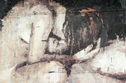 soggetto del murale un ragazzo e una ragazza nudi, lei seduta a gambe incrociate da un bacio a lui, sdraiato con la testa appoggiata alle sulle sue gambe.
