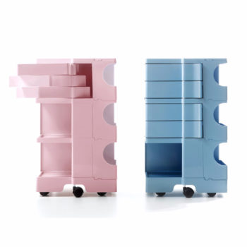 Boby, carrello contenitore, nelle ultime versioni di colore: rosa e azzurro