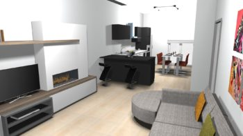 rendering fotorealistico nella progettazione architettonica: rendering di un ambiente salotto e zona pranzo arredato e illuminato