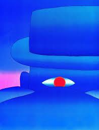 compravendite immobiliari e garanzie: notaio custodisce i soldi dell'acquirente - un acquerello di Folon raffigura il particolare di un uomo blu dall'occhio rosso