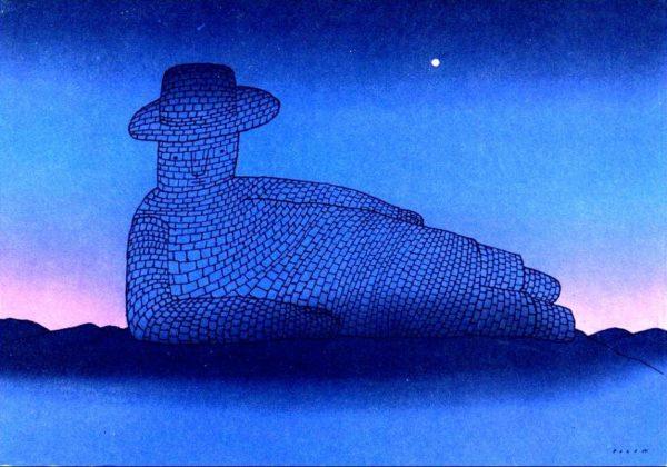 compravendite immobiliari e garanzie: notaio custodisce i soldi dell'acquirente - un acquerello di Folon raffigura un uomo fatto di mattoni adagiato su un fianco