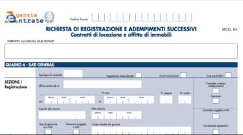nuovo modello RLI Registrazione Locazioni Immobili