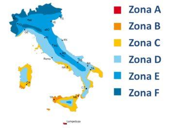 gestione impianto riscaldamento impianto termico. suddivisione delle zone climatiche in Italia