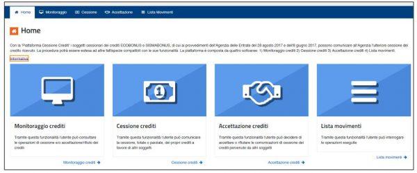 Piattaforma cessione credito ecobonus sismabonus
